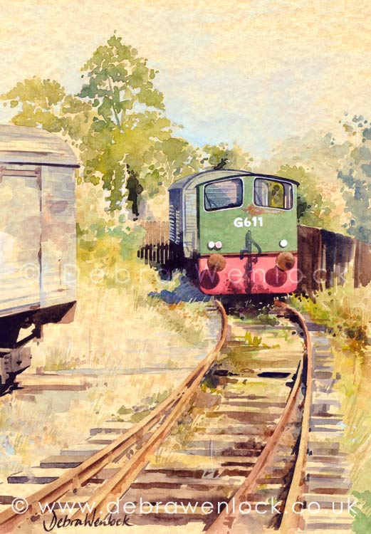 Downpatrick Diesel locomotive railway watercolour painting by Debra Wenlock