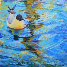 Gliding Gull, acrylic painting by Debra Wenlock