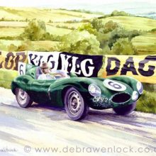 D-Type Jaguar Prototype at Dundrod TT, watercolour by Debra Wenlock