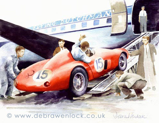 Dundrod Ferrari Disembarks, watercolour by Debra Wenlock