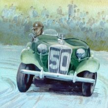 Hairpin MG Watercolour Painting by Debra Wenlock