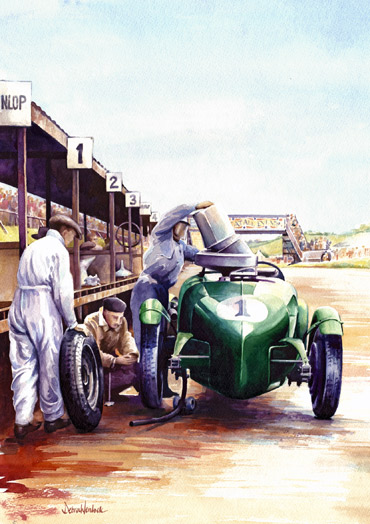 Lagonda Pit Stop 'Thirsty Work' watercolour painting by Debra Wenlock