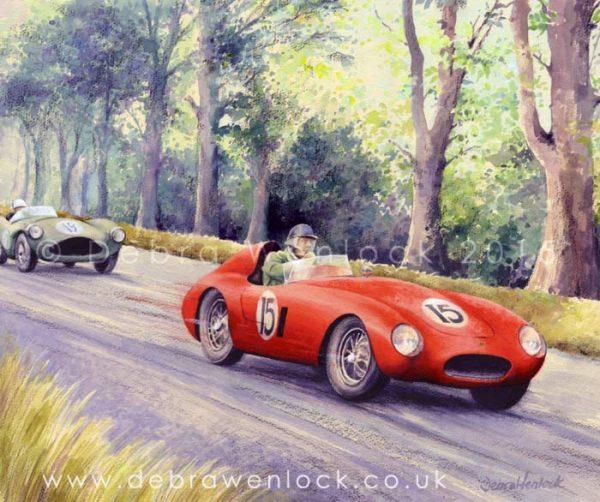 Mike Hawthorn Ferarri leads Aston Martin, 1954 Dundrod TT, watercolour & charcoal by Debra Wenlock