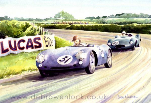 Porsche and Cooper Climax, 1955 Dundrod TT, watercolour by Debra Wenlock
