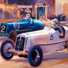 Prince Bira's ERA at the 1936 Limerick Grand Prix - acrylic painting by Debra Wenlock