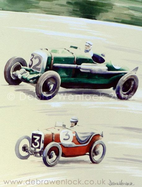 Birkin's Blower Bentley at Brooklands Blasts by Baby Austin on the Banking, watercolour by Debra Wenlock