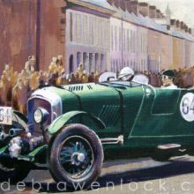 Blower Bentleys in Regent Street at the 1929 Ards TT, painting by Debra Wenlock