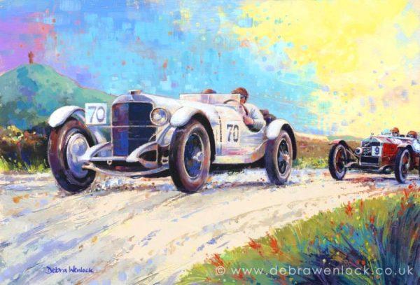 Caracciola, Mercedes vs Campari, Alfa Romeo at 1929 Ards TT Race, RAC Tourist Trophy painting by Debra Wenlock
