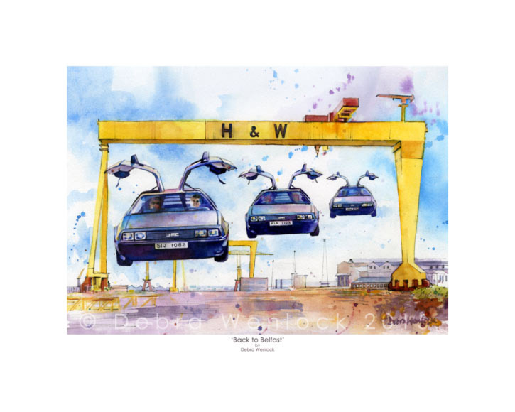 DeLorean print 'Back to Belfast' by Debra Wenlock