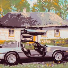 DeLorean Screenprint - Back to the Past, by Debra Wenlock