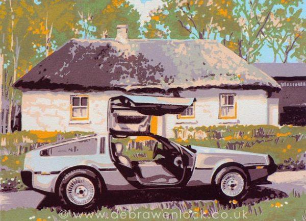 DeLorean Screenprint - Back to the Past, by Debra Wenlock