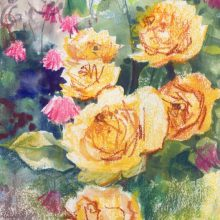 Cherub among the Yellow Roses painting in mixed media by Debra Wenlock