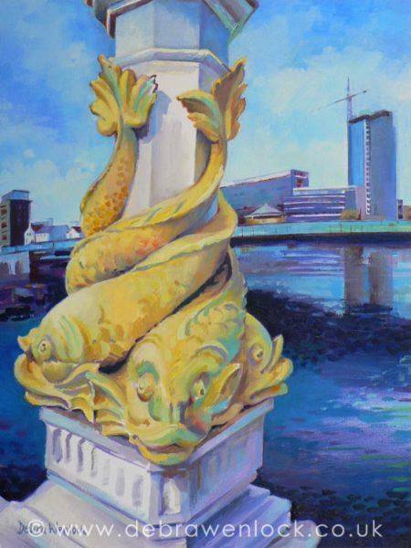 Queen's Bridge Belfast oil painting by Debra Wenlock