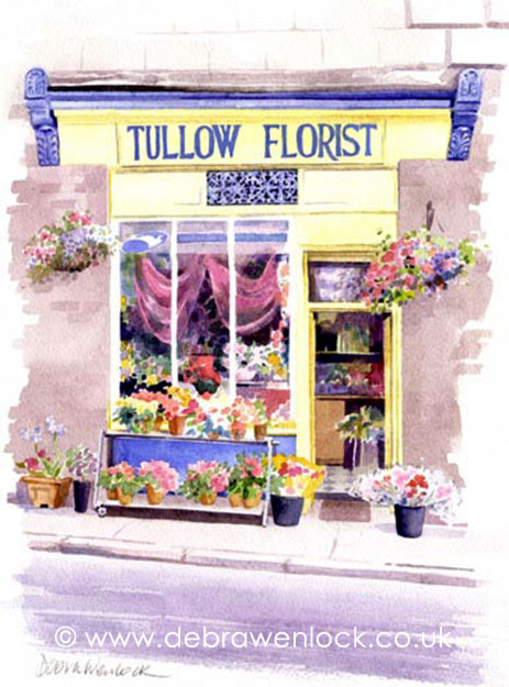 Tullow Florist's Shop Watercolour by Debra Wenlock