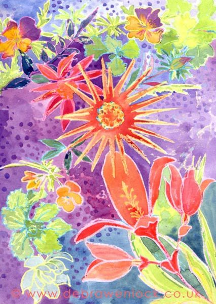 Garden Flowers, wax and watercolour painting by Debra Wenlock