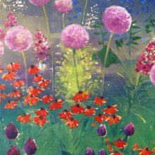 Aliums Purple Sensation - garden painting by Debra Wenlock