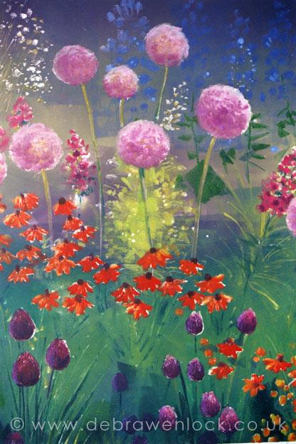 Aliums Purple Sensation - garden painting by Debra Wenlock