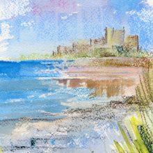 Bamburgh Castle, soft pastel & watercolour paining by Debra Wenlock