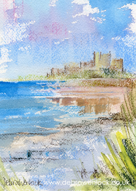 Bamburgh Castle, soft pastel & watercolour paining by Debra Wenlock