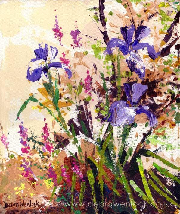 Irises, acrylic painting by Debra Wenlock