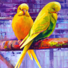 Budgerig painting by Debra Wenlock