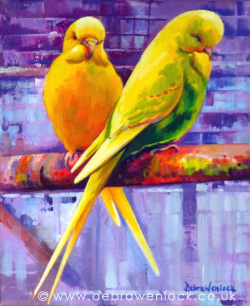 Budgerigars, Before the Dance, acrylic painting by Debra Wenlock