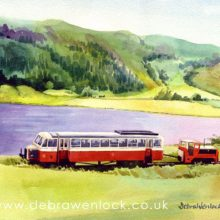 County Donegal Railcar at Fintown Railway - watercolour painting by Debra Wenlock
