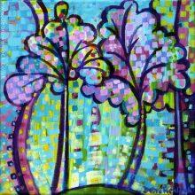 Funky Trees, acrylic painting by Debra Wenlock