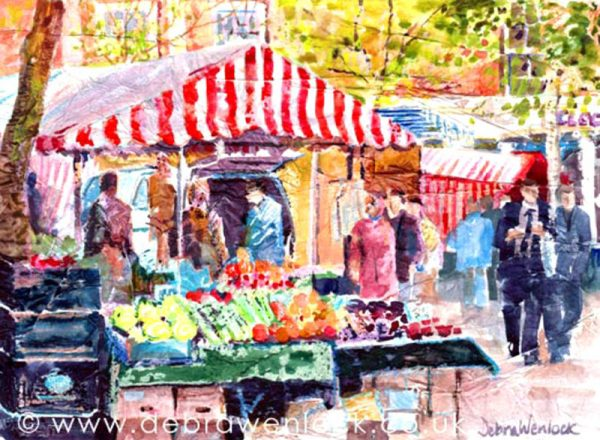 'Rugby Market' collage, wax & watercolour by Debra Wenlock
