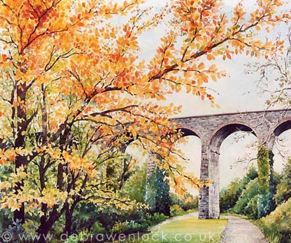 Dromore Viaduct Autumn, watercolour painting by Debra Wenlock