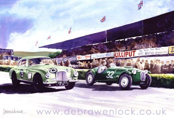 Aston and Frazer Nash at Dundrod TT - greetings card by Debra Wenlock