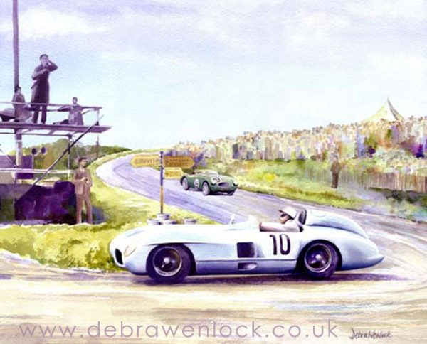 Stirling Moss, Mercedes, 1955 Dundrod TT - greetings card by Debra Wenlock