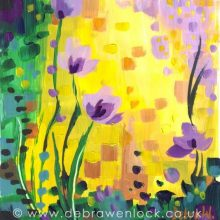 Lemon and Violet Flowers, acrylic painting by Debra Wenlock