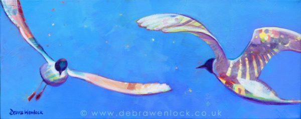 Dancing Gulls - acrylic painting by Debra Wenlock