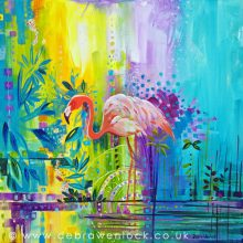 "Flamingo painting - ""Fabulously Unruffled"" by Debra Wenlock"