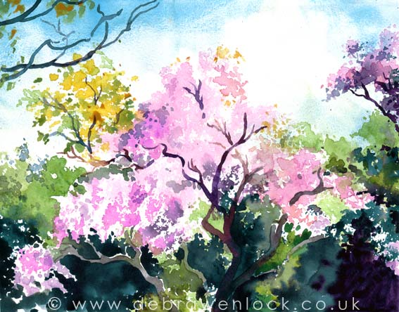 Wisteria Hysteria - watercolour painting by Debra Wenlock