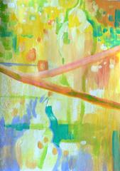 Cockatiels in acrylic - progress 2